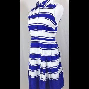 Milly Blue White Striped Nautical Sleeveless Dress